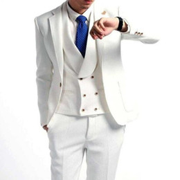 Dark Green Tie Grey Suit Australia - Tailor Made White Men Suits For Wedding 3Pieces Groom Prom Slim Fit Mens Suits Terno Masculino Blazer(Jacket+Pant+Vest+Tie)