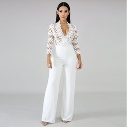 3b7b1ce6bf Lace jumpsuits wide Leg online shopping - Hollow Out Elegant Rompers Womens  Jumpsuit White Deep V