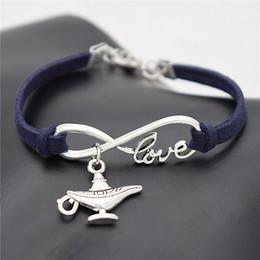 $enCountryForm.capitalKeyWord Australia - 2019 Newest Infinity Love Aladdin Magic Lamp Pendant Bracelet Bangles Men Women Navy Blue Leather Suede Rope Cuff Jewelry For Women Men Gift