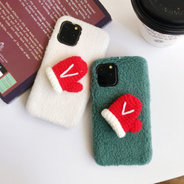hair glove UK - Cute Christmas gloves Cherry Small hair ball phone Case For iphone 11 Pro ProMax XR XSMax cover Lambs wool Smooth Fuzzy Capa gift