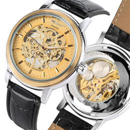 Men Sports Hand Watch Australia - Mechanical Watch Men Hand Winding Wristwatch Men's Sport Business Genuine Leather Watches Top Brand Luxury Man Clock Gift reloj