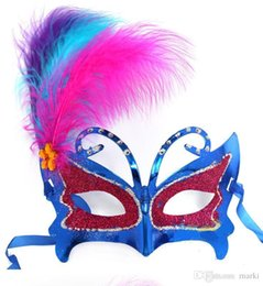 gras half mask UK - Marki 50pc women upper face Plastic Feather Masquerade Carnival Mardi Gras Masks Venetian Masks for wedding party ball H29