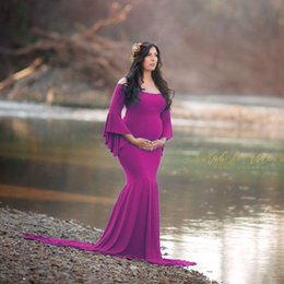 photography props flooring Canada - Maternity Dress For Photo Maternty Photography Props Flare Sleeve Sexy Pregnant Dresses 2019 Women Elegant Long Mermaid Dress