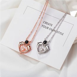 silver dolphin chains NZ - 100 language I Love You 925 Sterling Silver Necklace Dolphin Heart Jewelry Dolphin Ball Pendant Necklaces Fashion Christmas Gift