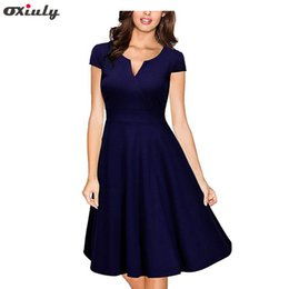 cd93c6b258f Oxiuly Audrey Hepburn 50s Vestidos Womens Dress Formal V Neck Casual Office  Wear Working Bodycon Knee Length A-line Dresses Q190510