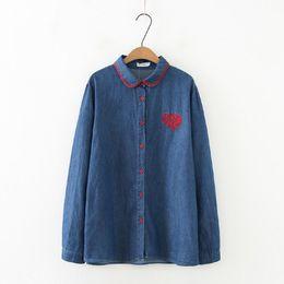 $enCountryForm.capitalKeyWord UK - plus size women denim blouse loose long sleeve heart embroidery casual top