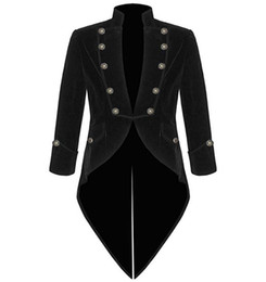 gothic collars Australia - Men's Velvet Long Tailcoat Jacket Steampunk Halloween Cosplay Costume Victorian Gothic Coat Stand Collar Overcoat For Casual