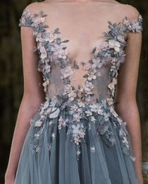 Sheer Shirts For Cheap Australia - 2019 New Sheer Plunging Neckline Appliqued Party Gowns Cheap Sweep Train Tulle Beads Evening Wear For Women Paolo Sebastian Lace Prom Dress