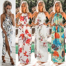 Discount fork style dress - Fork Opening Skirt Halter Neck Female Longuette Spring Summer Dress Printing Breathable Sleeveless Maxi floral bech dres