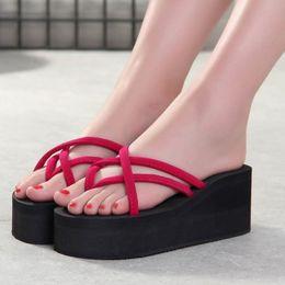 Wholesale Canvas High Shoes Australia - Platform Sandals Women High Heel Zapatillas Summer Shoes Fashion Straped Slippers Beach Flip Flops Solid Slides Women 2019 New
