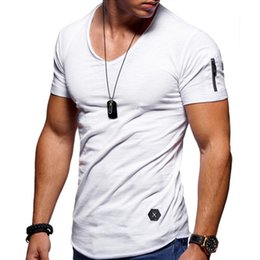 Discount v collar t shirts xl size - 2019 New Men's V collar T shirt Fitness Bodybulding T shirts High Street Summer Short Sleeve Zipper t-shirts tops P