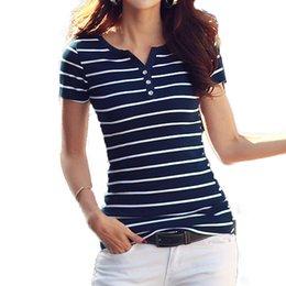 red blue white striped t shirt 2019 - Volocean 2019 Summer Woman T Shirt Cotton T-shirts For Women Striped Female V-neck T-shirt Button Top Tee cheap red blue