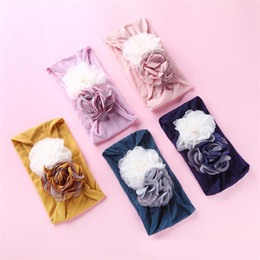 Baby Hair Thinning NZ - Boutique Infant Hair Accessories Super Soft Baby Girl Nylon Headband Camellia Flower Newborn Summer Thin Stretchy Tulle Photography Prop