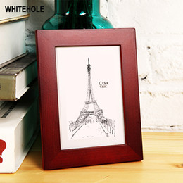wholesale wooden picture frames Australia - Nature Wooden Classic Small Photo Frame Plexiglass Include Picture Frame For Wall Hanging Photos Frames Pictures