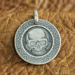 Laser Engraved Pendants Australia - LINSION 999 Sterling Silver Laser Engraved High Details Skull Mens Biker Pendant 9X305 JP