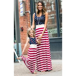 stripe clothes mom Australia - Mother daughter dresses Sleeveless Stripe Dots Long Dress Mother and daughter clothes Mom dress Family Matching Clothes