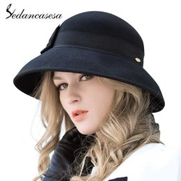 25e3af04a8224 Sedancasesa Elegant 100% Australia Wool Fedoras Felt Hat Handmade Bowknot  Warm Bowler Winter Floppy Ladies Cloche Hats