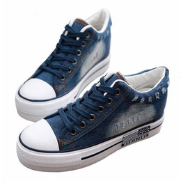 $enCountryForm.capitalKeyWord Australia - Hidden Heel Women's Platform Sneakers Wedges Women's Vulcanize Shoes Platform Blue Denim Canvas Shoes Women Sneaker Chunky Shoes