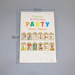 frames favors wholesale UK - 12pcs Set Happy Birthday Decorations Photo Frame Banner Baby Shower Candy Bar Decoration Party Favors Garland Birthday Banner
