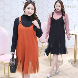 Korean Red Dress Gown Australia - 2019 Spring Dress New Fat MM Large Code Women's Wear Fat Plus Korean Edition Two Clothes Belly Cover Skirt 6464