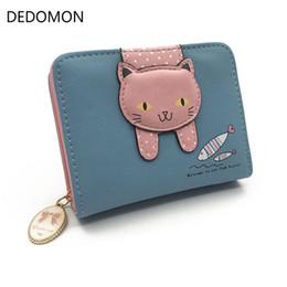 $enCountryForm.capitalKeyWord NZ - Women cute cat wallet small zipper girl wallet brand designed pu leather women coin purse female card holder wallet