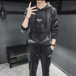 Velour Sweat Suits NZ - Mens Designer Tracksuit with Letters Printed Designer Sweat Suits Long Sleeve Hoodies Pants Tracksuit Men Casual Clothes M-4XL Wholesale