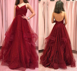 $enCountryForm.capitalKeyWord UK - Blingbling Burgundy Prom Dresses Spaghetti Straps Ruffles Backless Tiered Skirt Custom Made Pleats Ruched Juniors Graduation Party Gown