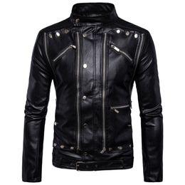 Wholesale mens jacket models resale online – fashion models Men s locomotive multi zip mens leather jacket Leather jacket plus size black color overcoat jackets coat