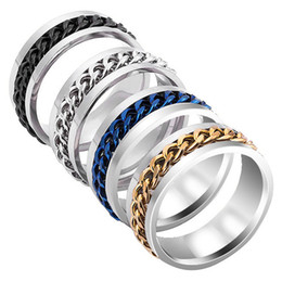Chain Linked Rings NZ - 8mm Silver Rotatable Chain Rings Punk Style Men Finger Ring Titanium Stainless Steel Flexible Spinner Link Casual Fraternal Rings Jewelry