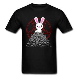 Cartoon Butler Australia - Cute Killer T-shirt Men White Rabbit T Shirt Skulls Tee Black Butler Logo Tops Bunny Cartoon Tshirt Cotton Clothing