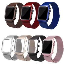 Wholesale Magnetic Loop Metal Band Bumper Case For Apple Watch Wristband Stainless Steel Watch Bracelet Mesh Strap Replacement mm mm mm mm