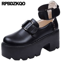$enCountryForm.capitalKeyWord Australia - ankle strap high heels metal 2019 block pumps black gothic cheap 3 inch chunky platform shoes women footwear round toe china new