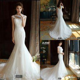$enCountryForm.capitalKeyWord Australia - Robe de mariage mermaid white lace appliques bride dress hollow back sexy corset cheap court train wedding dresses best selling bride gowns