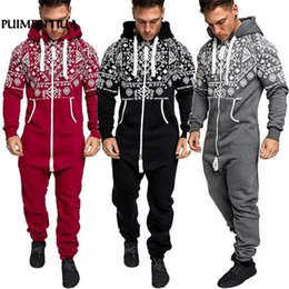 Overalls For Mens Australia - Puimentiua 2018 Casual Tracksuit Jumpsuit Mens Overalls Long Sleeve Sweatshirt Hoodies Long Pants Romper For Male Overalls T2190614