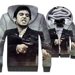 Scarface Men 2d Hoodies Novo Estilo Agradável de Inverno Quente Jaqueta Mens Marca Moletons Casual Casaco Com Zíper Roupas de Marca Para Os Fãs venda por atacado