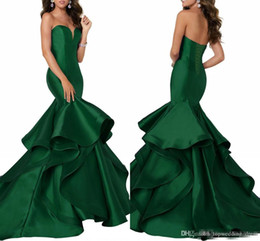 Evening Dresses Lace Up Back Australia - Dark Green Satin Mermaid Evening Dresses With Tiered Skirts Sweetheart Neck Formal Party Gowns Corset Lace Up Back Celebrity Dress Pageant