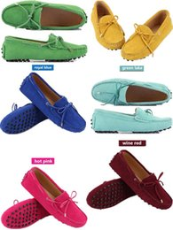 Wholesale 2019 Genuine Leather Women Flat Shoes Casual Loafers Slip On Women s Flats Shoes Moccasins Lady Driving Shoes