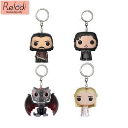 $enCountryForm.capitalKeyWord UK - Game Of Thrones Keychain Q Version Doll Daenerys Targaryen Drogon Jon Snow Car Key Chain Pendant Pop Key Protector Sp1640 C19041203