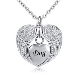 $enCountryForm.capitalKeyWord Australia - Cremation Jewelry with Angel Wing Urn Necklace for Ashes Birthstone Pendant Holder Heart Memorial Keepsake for Dog