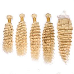 $enCountryForm.capitalKeyWord Australia - #613 Blonde Peruvian Virgin Human Hair Weaves with Top Closure Deep Wave 4Bundles Blonde Hair Wefts with 4x4 Lace Front Closure 5Pcs Lot