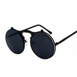 2416ef516fb79 Steampunk Stylish Round Sunglasses round frame Luxury Brand Flip Up Glasses  For Woman Man 13 Colors UV400 LJJV402