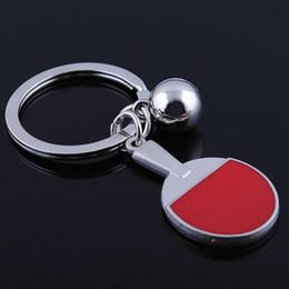Table Charm Wholesale Australia - Table Tennis Racket Keyring Ping-Pong Bat Key Chain Funny Casual Sporty Charm Accessory Mini Keyfob Ball Key Chain Jewelry