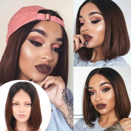 Brown Straight Wig Part Australia - Free shipping 2 tones dark roots short bob straight synthetic lace front ombre brown wig for women heat resistant wigs wit middle part