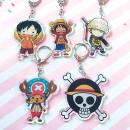 Anime One Piece keychain Skelett Logo Chopper Ruffy Law Acryl Schlüsselanhänger niedlichen Cartoon Schlüsselanhänger Anhänger Schmuck Sleutelhanger