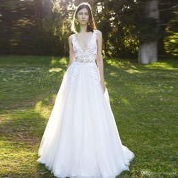 20a4e413032e3 wedding dress Brilliant Illusion A Line Tulle Beach Wedding Dresses Deep V  Neck Backless Bohemian Bridal Dress Tiered Country Wedding Skirt