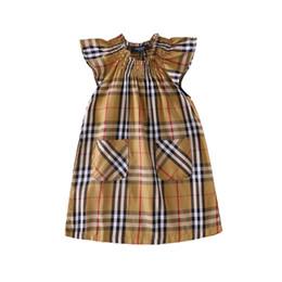 e16b846b1d9 Girls high-end stitching dress fashion plaid cotton short-sleeved T-shirt  lapel fashion plaid dress summer hot T-shirt short sleeve