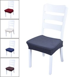 simple chair covers 2019 - 1 PCS Removable Elastic Stretch Slipcovers Spandex Chair Seat Covers Fabric Simple Elastic Cover Solid Modern Seat Cover