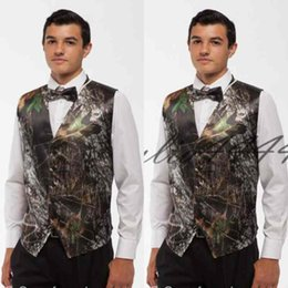 camouflage tuxedos UK - 2019 New Fashion Camo Groom Vest Camouflage Slim Fit Mens Formal Tuxedo Vest For Wedding Free Shipping (Vest+Bow)
