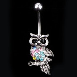 Owl belly buttOn online shopping - D0692 Retail colors Multi Color Owl style navel button ring piercing body jewlery belly ring Body Jewelry