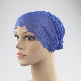 lace hijab caps Australia - New Fashion Style Lace Bandage Muslim Inner Hijab Caps Islamic Underscarf Hats 18 Colors